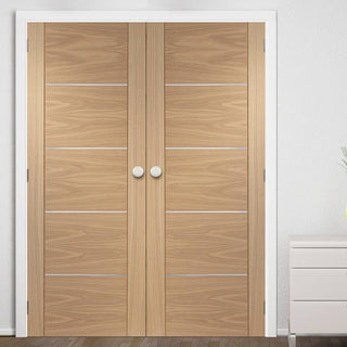 Image: FD30 Fire Pair, Portici Oak Door Pair - Aluminium Inlay - 1/2 Hour Rated - Prefinished