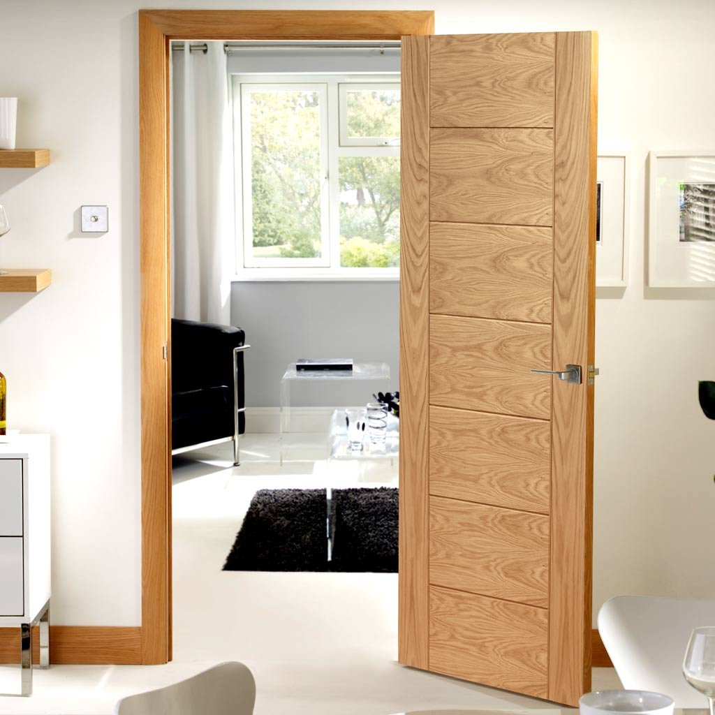 Door and Frame Kit, Palermo Oak Flush Door - Panelled Effect - Prefinished