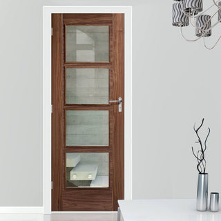Image: Bespoke Fire Door, Vancouver Walnut 4L - 1/2 Hour Fire Rated - Clear Glass - Prefinished