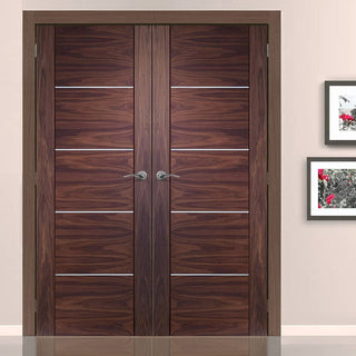 Image: FD30 Fire Pair, Portici Walnut Door Pair - Aluminium Inlay - 1/2 Hour Rated - Prefinished