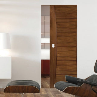 Image: Pamplona Walnut Absolute Evokit Single Pocket Door - Prefinished