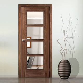 Image: Vancouver Walnut 4 Pane Fire Door - Clear Glass - 1/2 Hour Fire Rated - Prefinished