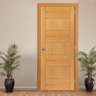 Image: J B Kind Oak Contemporary Sirocco Flush Fire Door - 30 Minute Fire Rated - Prefinished