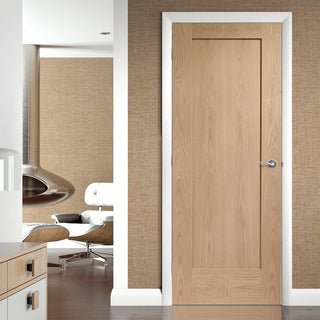Image: Fire Rated Pattern 10 Style 1 Panel Oak Door - 1/2 Hour Fire Rated