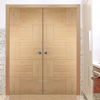 Image: Ravenna Oak Flush Door Pair - Prefinished