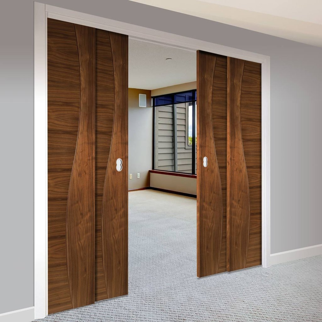 Contemporary Design Cadiz Walnut Veneer Staffetta Quad Telescopic Pocket Doors - Prefinished