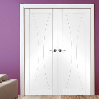 Image: Simpli Double Door Set - Verona Flush Door - White Primed