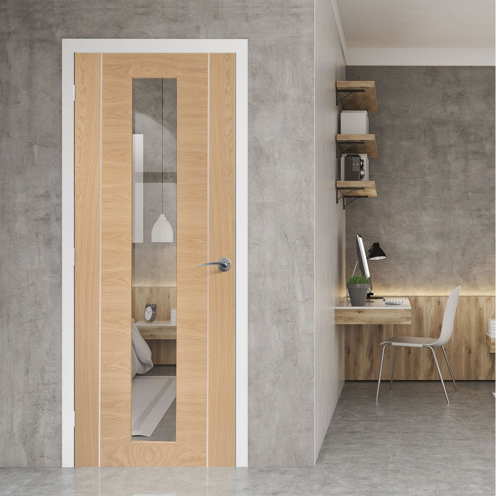 Bespoke Forli Oak Glazed Door - Aluminium Inlay - Prefinished