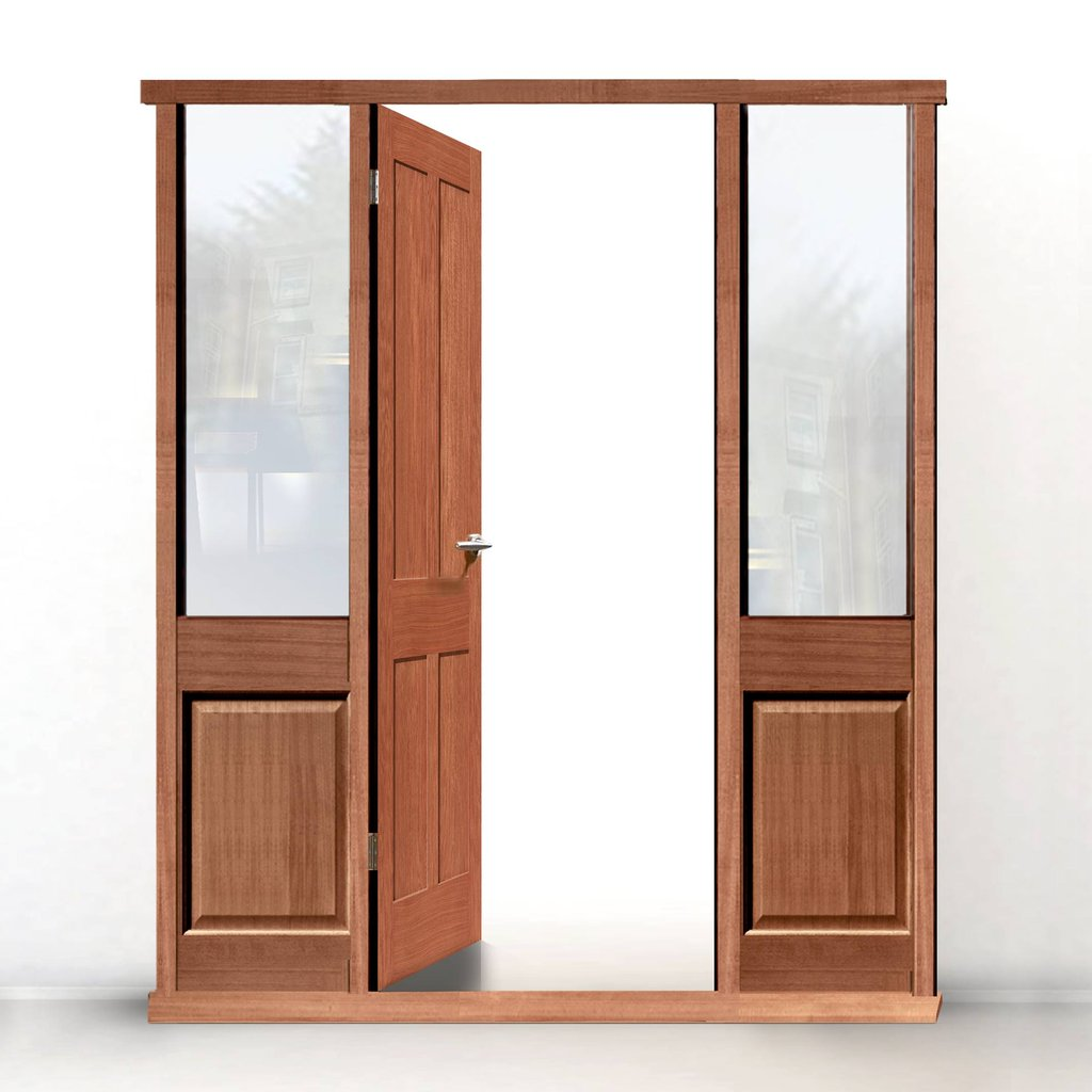 Exterior Door Frame with side glass apertures, Made to size, Type 3 Model 4.
