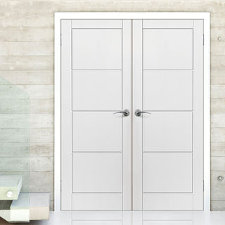 Image: Quattro Smooth Moulded Panel Door Pair, White Primed