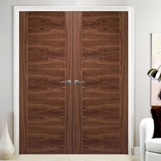 Image: Vancouver Walnut 5 Panel Flush Door Pair - Prefinished