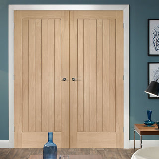 Image: Simpli Double Door Set - Suffolk Oak Door - Vertical Lining - Prefinished