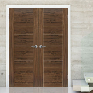 Image: Brisa Mistral Flush Walnut Veneered Door Pair - Decorative Groove - Prefinished