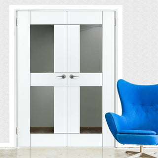 Image: J B Kind Eccentro White Primed Door Pair - Clear Glass