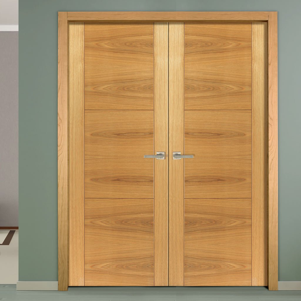 J B Kind Mistral Flush Oak Door Pair - Decorative Groove - Prefinished