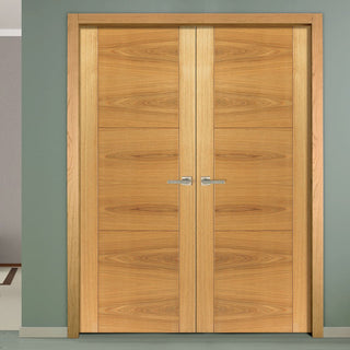 Image: J B Kind Mistral Flush Oak Door Pair - Decorative Groove - Prefinished