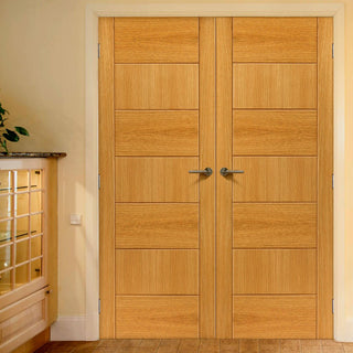 Image: Brisa Sirocco Flush Oak Veneered Door Pair - Prefinished