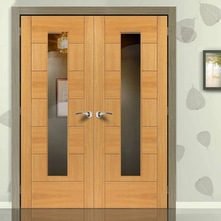 Image: Brisa Sirocco Oak Veneered Door Pair - Clear Glass - Prefinished