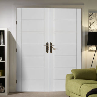 Image: Palermo Flush Door - White Primed Pair
