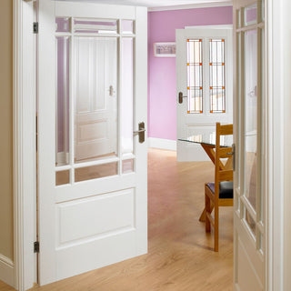 Image: Downham Door Pair - Bevelled Clear Glass - White Primed