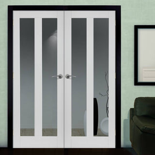 Image: J B Kind Dominica White Primed Door Pair - Clear Glass