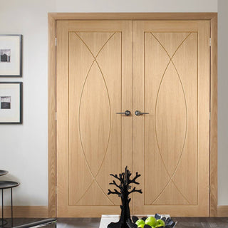 Image: Pesaro Oak Flush Door Pair