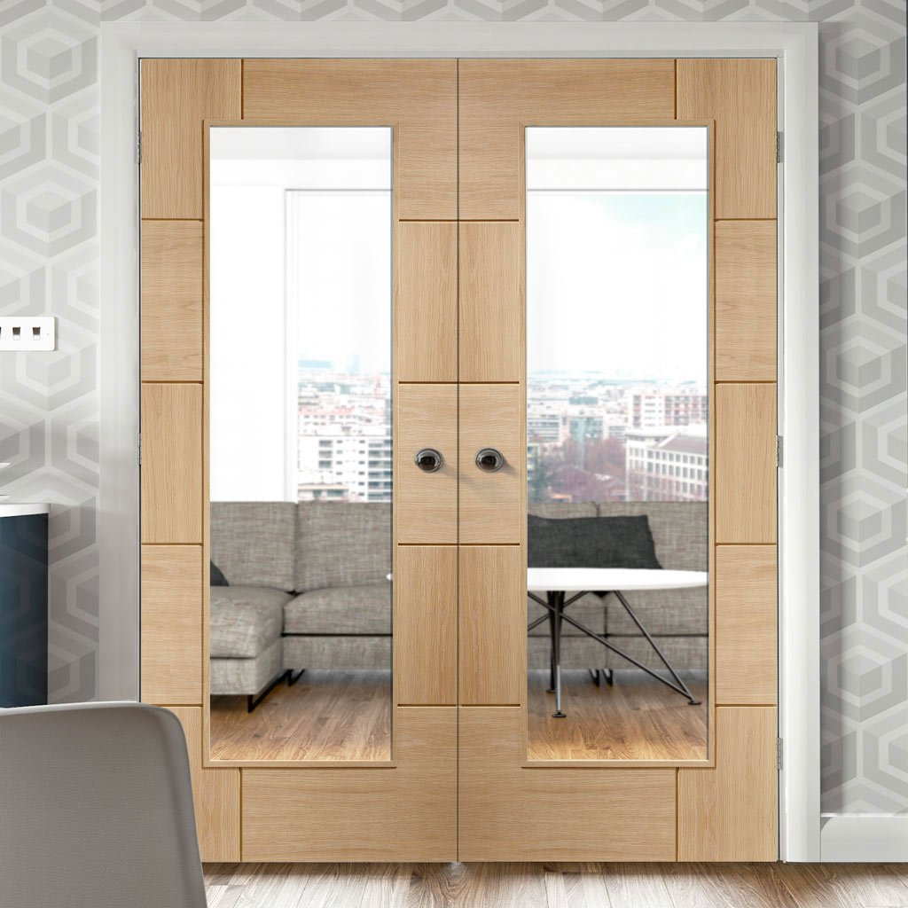 Ravenna Oak French Door Pair - Clear Glass - Prefinished