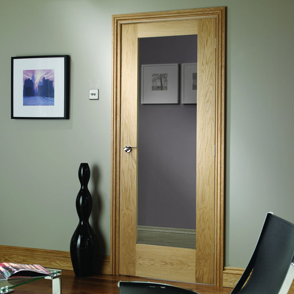 Door and Frame Kit - Patt 10 Oak 1 Pane Door - Clear Glass