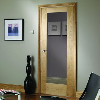Image: Fire Rated Pattern 10 Style Oak Door - Clear Glass - 1/2 Hour Fire Rated