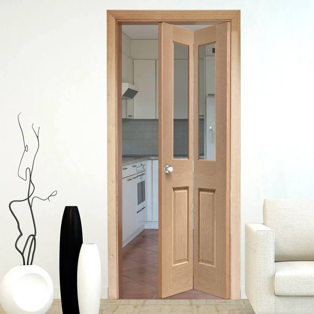 Interior Bifold Doors - Malton Oak Bi-Fold Door - Clear Glass