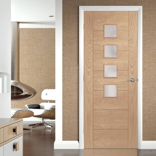 Image: Bespoke Palermo Oak Fire Door - Obscure Glass - 1/2 Hour Fire Rated