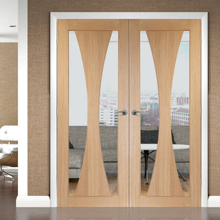 Image: Verona Oak Flush Fire Door Pair - Clear Glass - 30 Minute Fire Rated