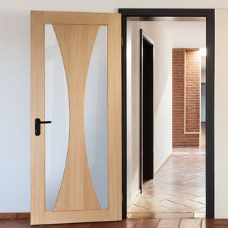 Image: Fire Rated Verona Flush Oak Door - Clear Glass - 1/2 Hour Fire Rated