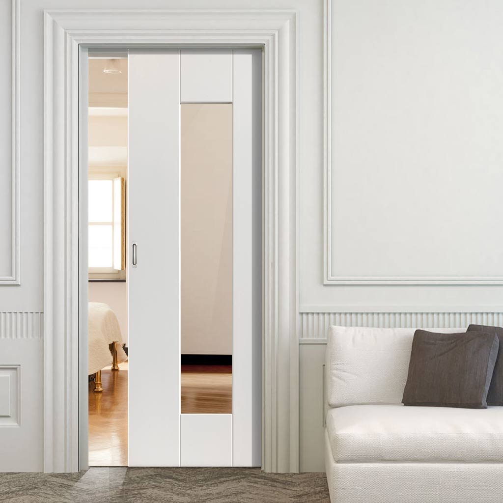 Axis single evokit pocket door clear glass white primed
