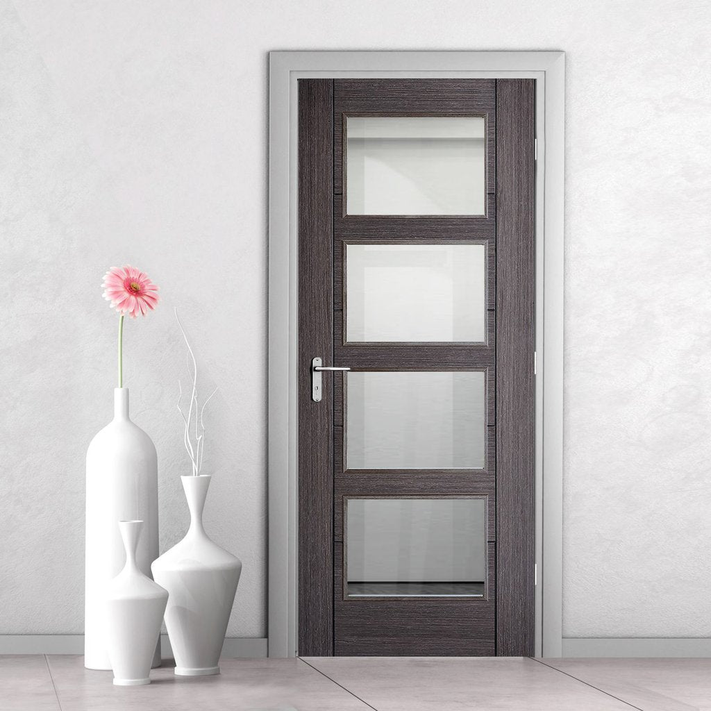 Vancouver Ash Grey 4 Pane Internal Door - Clear Glass - Prefinished