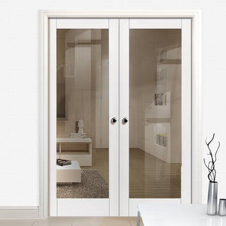 Image: Tobago White Primed Door Pair with Clear Safety Glass is 1/2 Hour Fire Rated