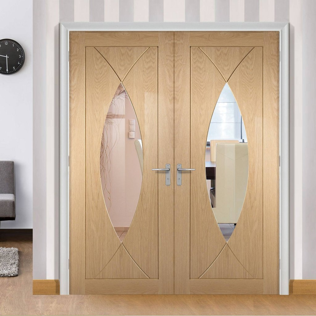 Pesaro Oak Door Pair - Clear Glass - Prefinished