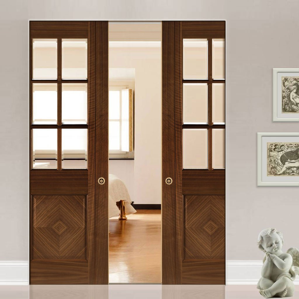 Kensington Walnut Absolute Evokit Double Pocket Doors - Clear Bevelled Glass - Prefinished