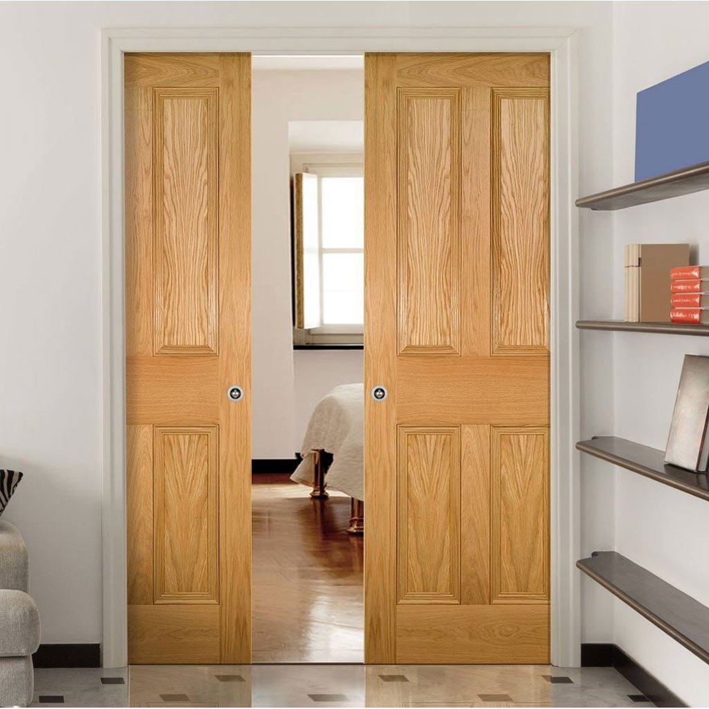 Kingston Oak Double Evokit Pocket Doors - Unfinished
