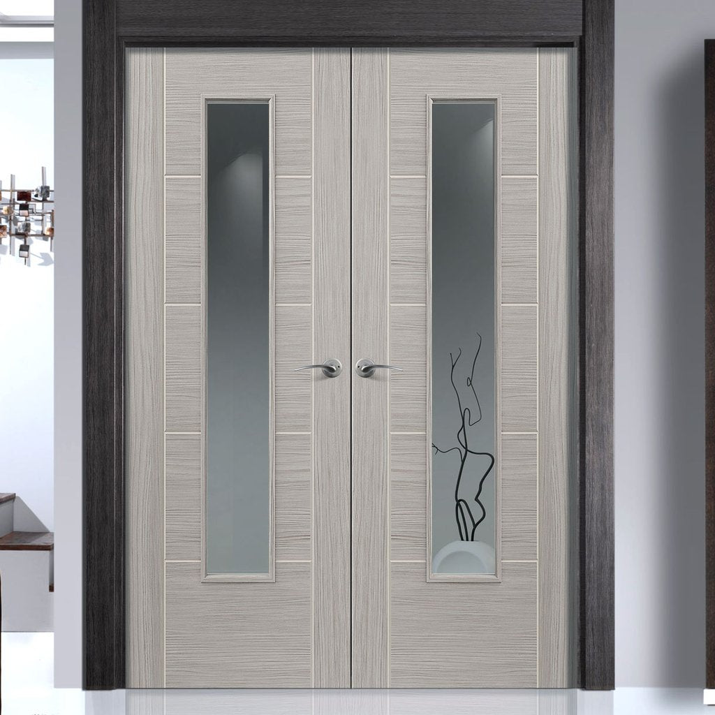 J B Kind Laminates Lava Painted Door Pair - Clear Glass - Prefinished