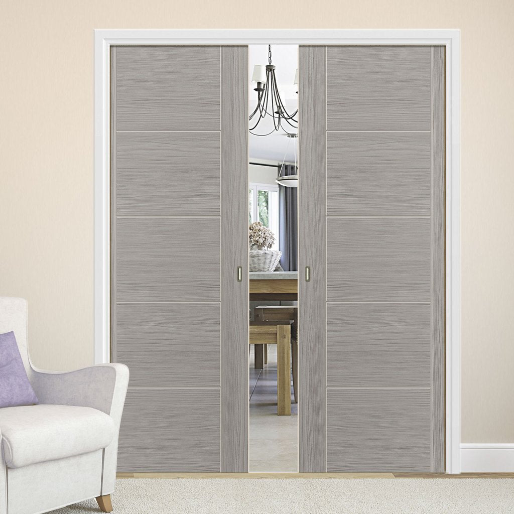 Laminates Lava Painted Double Evokit Pocket Doors - Prefinished