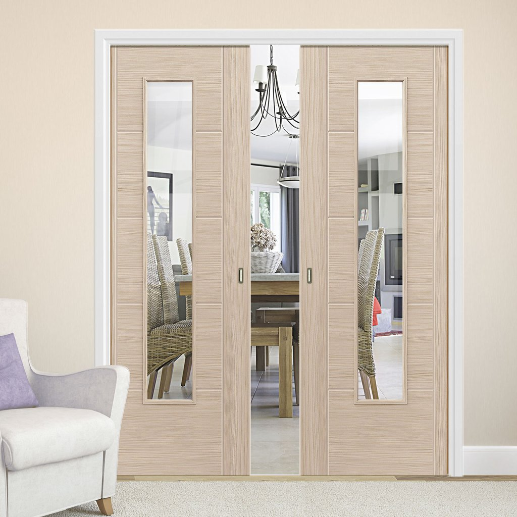 Laminates Ivory Painted Double Pocket Doors With Clear Safety Glass - Prefinished