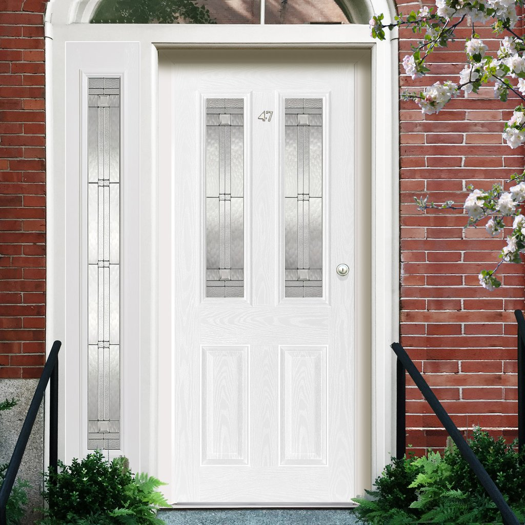 GRP White Malton Leaded Double Glazed Composite Door - Leaded Single Sidelight