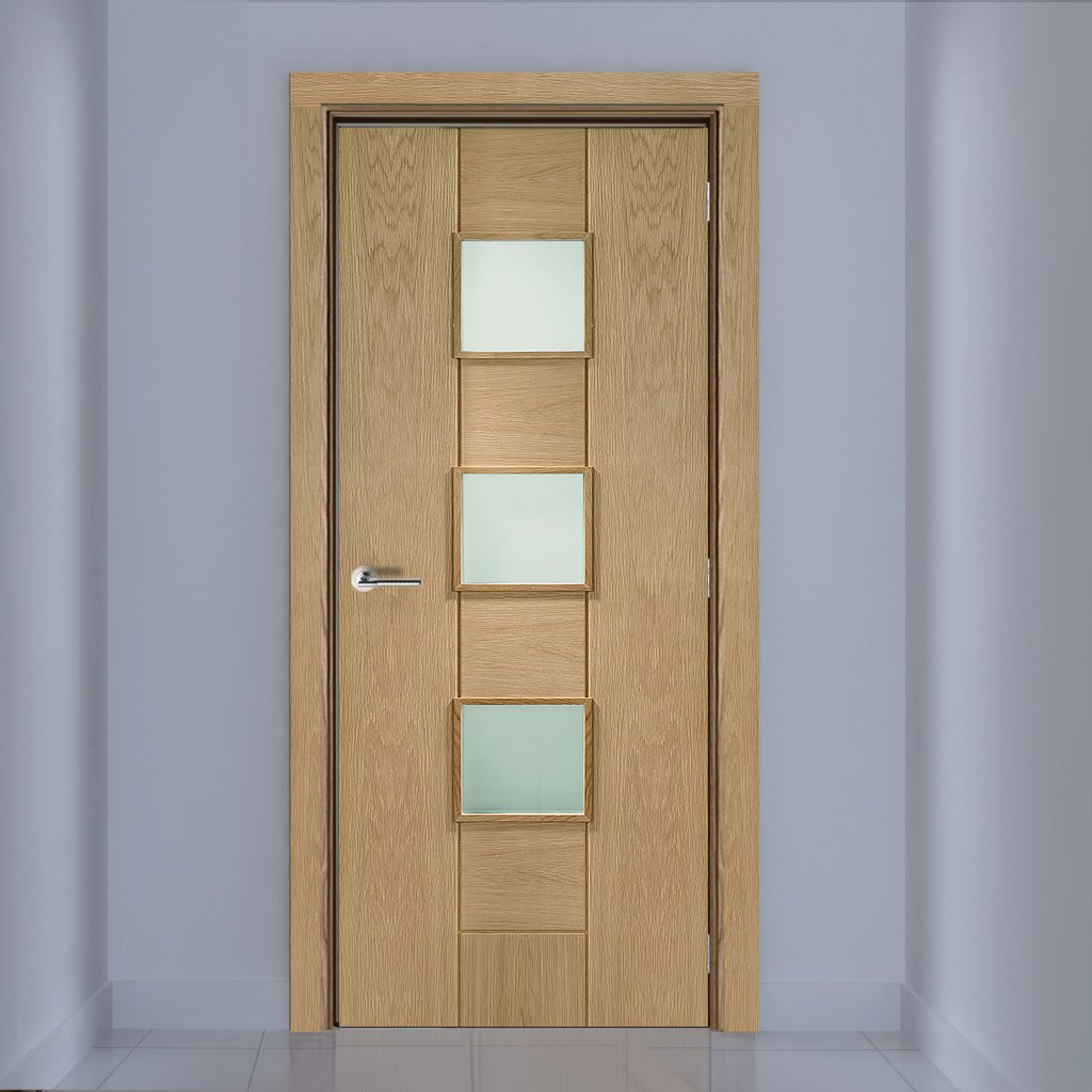 Bespoke Messina Oak Glazed Door - Prefinished