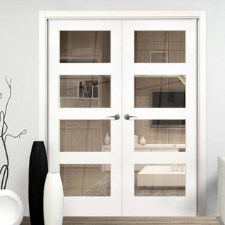 Image: Coventry White Primed Shaker Door Pair - Clear Glass