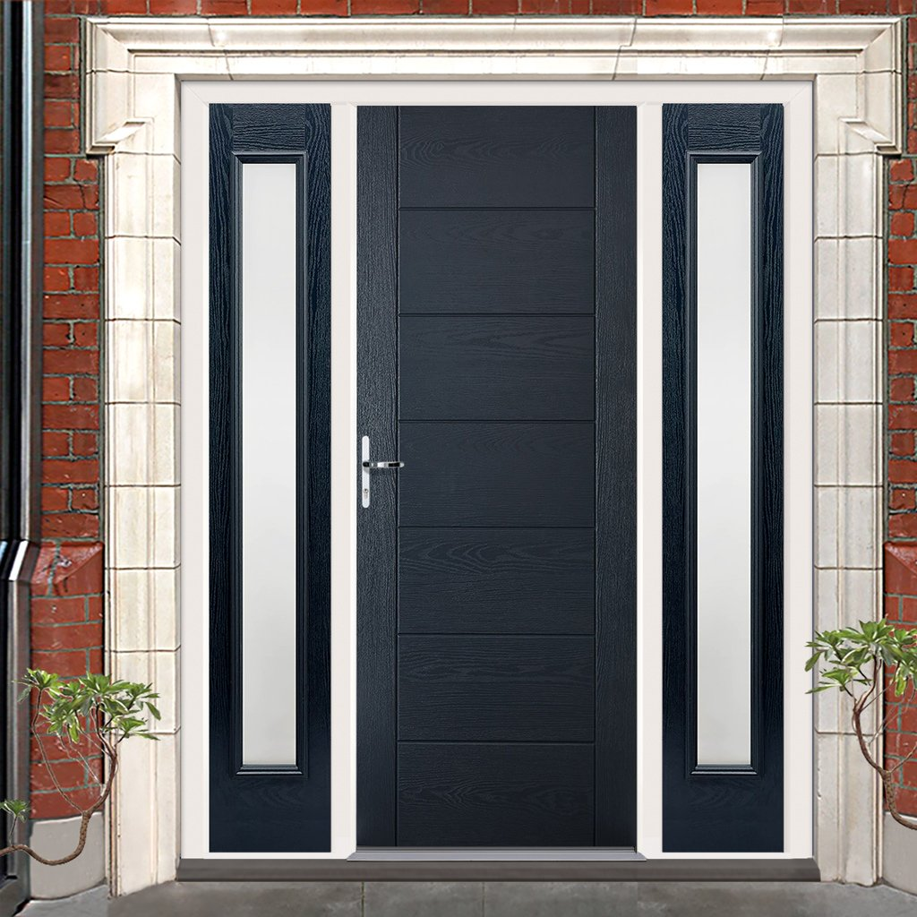 GRP Grey Modica Composite Door - Two Frosted Sidelights