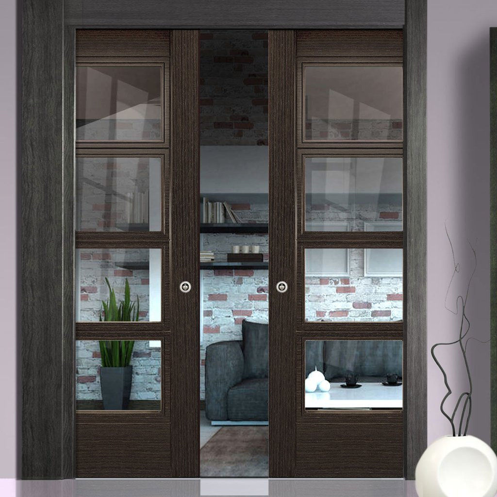 Montreal Dark Grey Ash Double Evokit Pocket Doors - Clear Glass - Prefinished