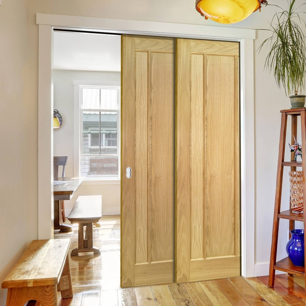 Norwich American Oak Veneer Staffetta Twin Telescopic Pocket Doors - Unfinished