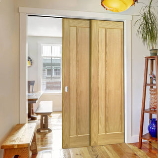 Image: Norwich American Oak Veneer Staffetta Twin Telescopic Pocket Doors - Unfinished