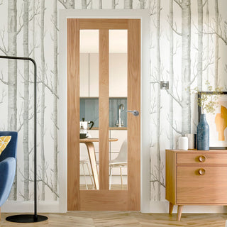 Image: Glazed bespoke oak veneer interior door design